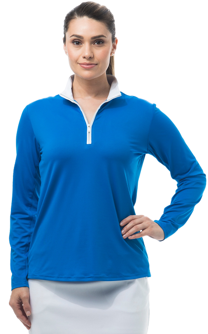 900322 SanSoleil SolShine Long Sleeve Mock. Classic Blue